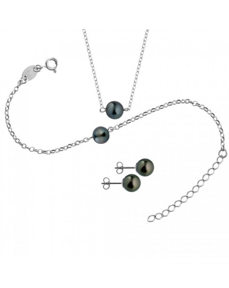Tahitian Pearls earrings & necklace SET