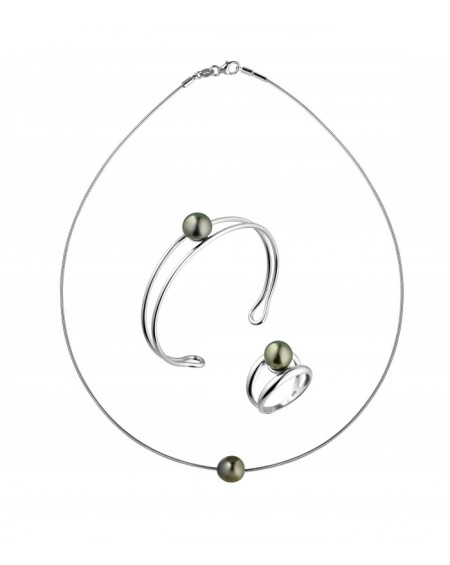 Tahitian Pearls ring bracelet & necklace SET