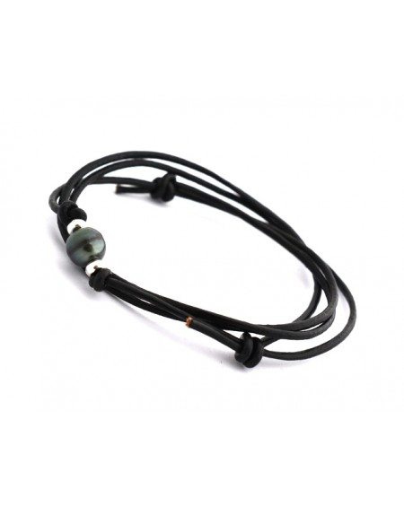 Tahitian Pearl black leather Necklace