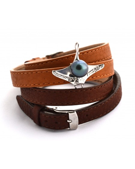 tahitian pearl silver gold plated manta ray leather bracelet convertible in pendant
