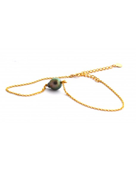 Tahitian Pearl gold plated anklet