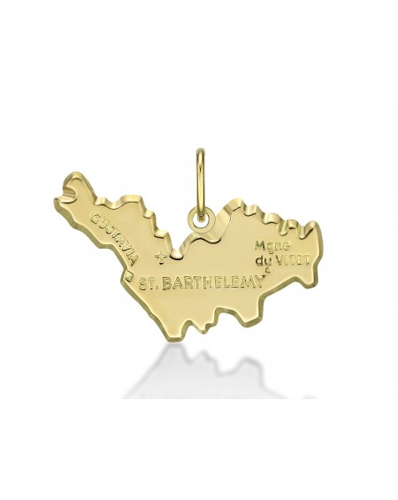 Reunion island map 18K gold pendant