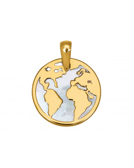 World map 18K gold and nacre pendant