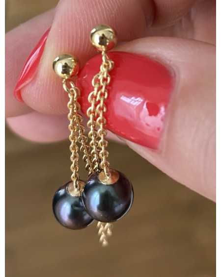 TAHITIAN CULTURED PEARLS 18K YELLOW GOLD EARRINGS