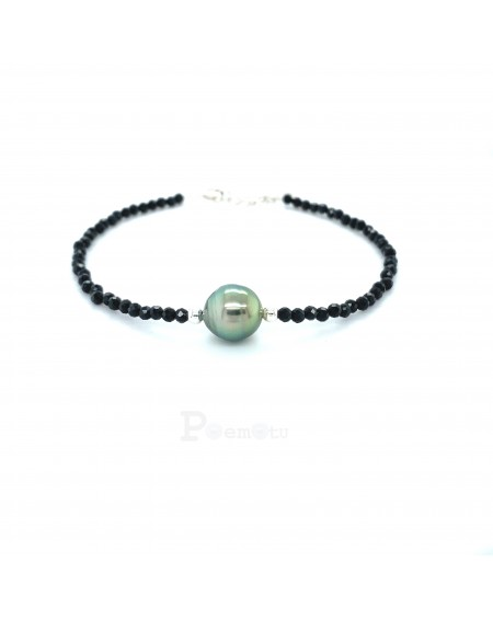 tahitien pearl and spinelle bracelet