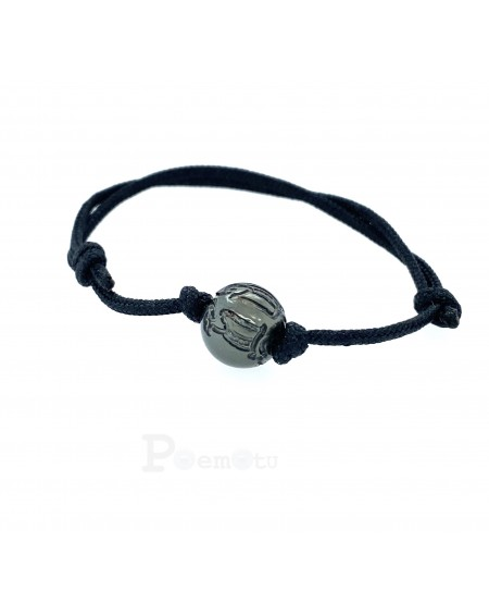 marquisian engraved Tahitian Pearl black leather Necklace