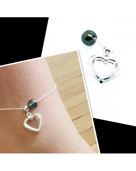 4 Tahitian Pearls silver anklet