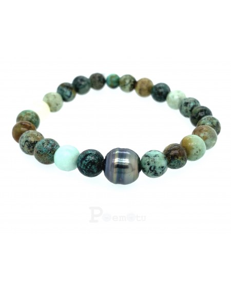 Africa turquoise tahitian pearl bracelet