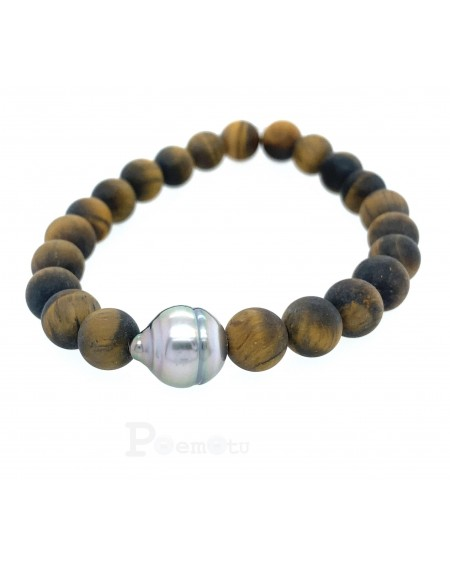 Agates and Tahitian Pearl Bracelet