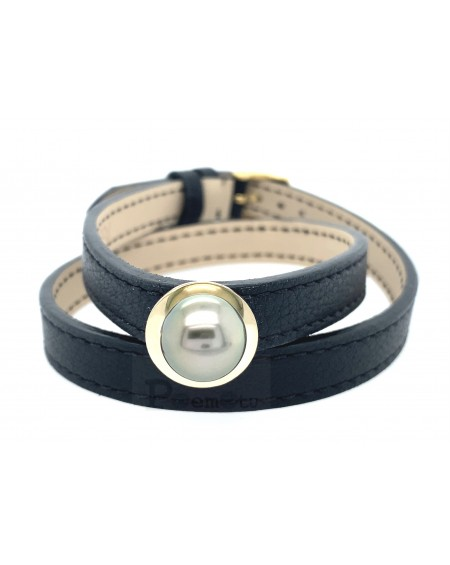 tahitian pearl 925 silver and leather bracelet