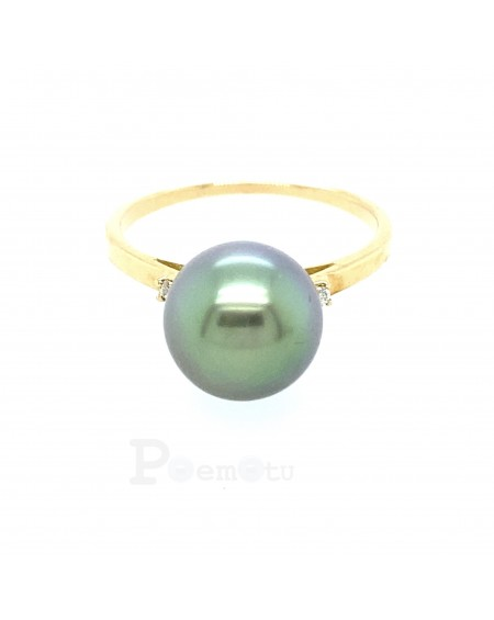 BLUE TAHITIAN PEARL YELLOW 18K GOLD RING
