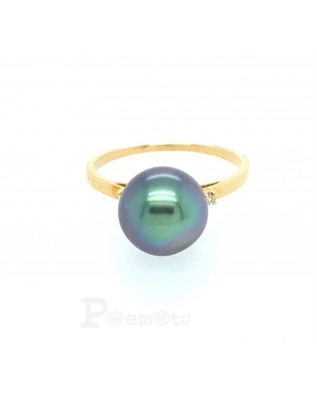 BLUE PINK TAHITIAN PEARL YELLOW 18K GOLD RING