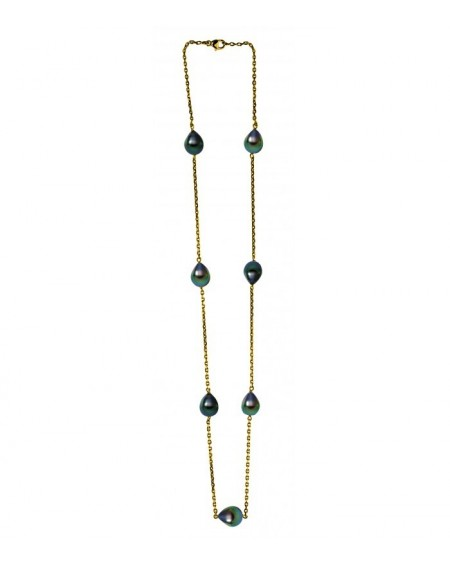 Tahitian Pearl OMEGA CABLE 1mm NECKLACE in White Gold 18K