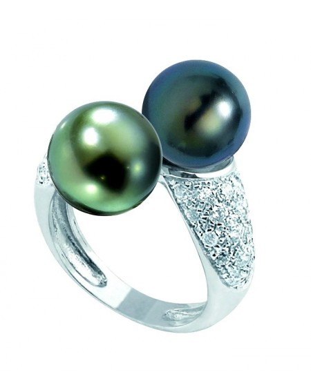 Tahitian Pearl's 18K white Gold RING