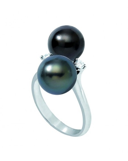 TAHITIAN PEARL and DIAMONDS YELLOW GOLD RING