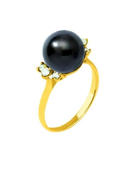 Tahitian Pearl diamonds gold ring
