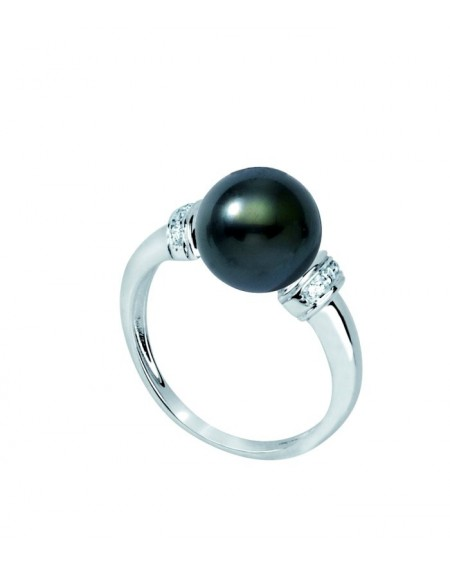 diamond & Tahitian Pearl 18 K white GOLD RING