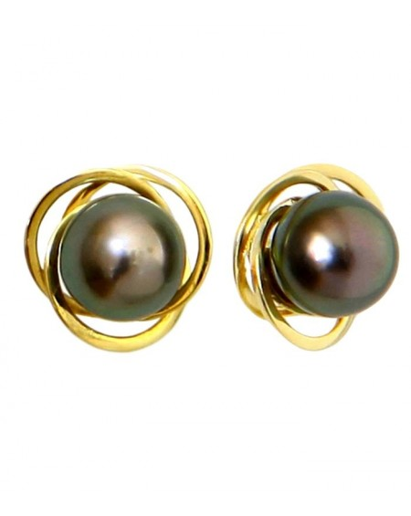 Tahitian Pearls saturn earrings