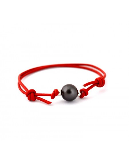 TAHITIAN PEARL BLACK LEATHER BRACELET