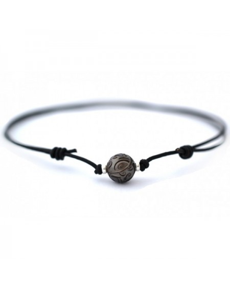 Tahitian Pearl marquisian engraved leather Necklace
