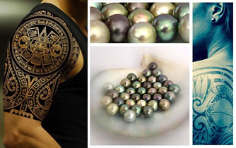 Tahitian Pearls as traditional tattoos are part of the Polynesian culture.